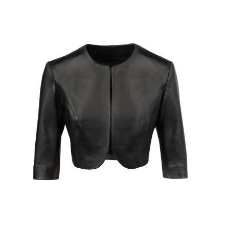 Catanzaro black leather summer Bolero with short sleeves