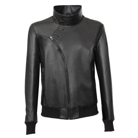Bomber di vera pelle Milano nera Ragazzo con vestibilità Aderente 1