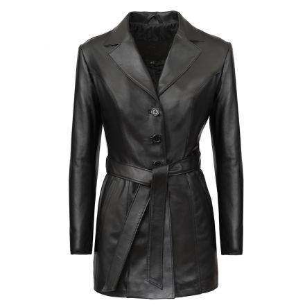 Flire Abrigo Corto de cuero negro invierno elegante con cinturón