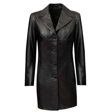 Sonia Abrigo Largo de cuero negro invierno con escote en pico y botones