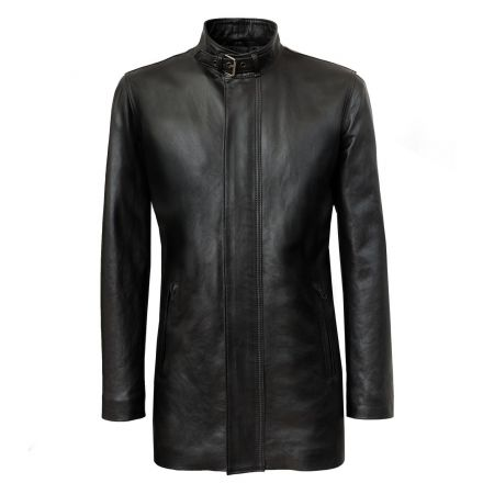 cappotto in pelle nera da uomo Bergamo cerniera con fintone collo coreana con cinturino e fibbia tasche con zip