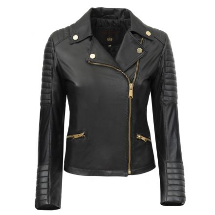 Siena black leather winter Biker Jacket quilted with padding