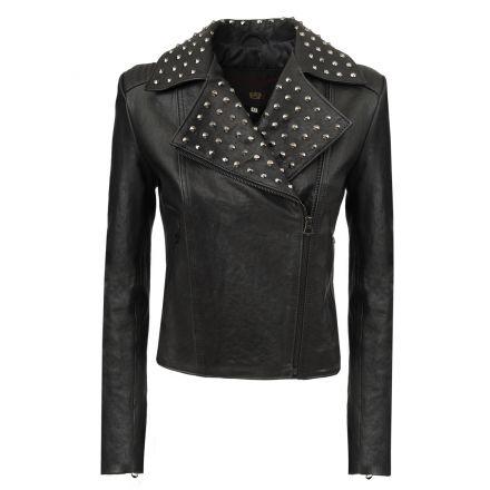Campobasso black leather summer Biker Jacket with studds