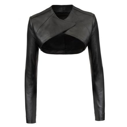 Zoe black leather summer Shrug short jacket with long sleeves