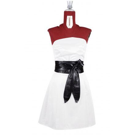 Miranda womens black leather Obi Belt high waist belt