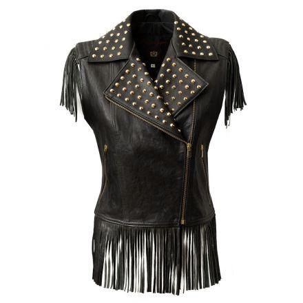 Matera black leather summer Sleeveless Biker Jacket with studds and fringes