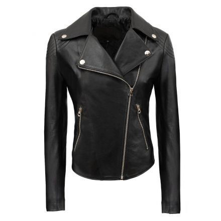 Salerno black leather winter Biker Jacket slim fit biker