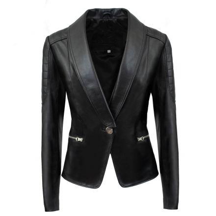 Ravello black leather summer Classic Jacket elegant with V neck