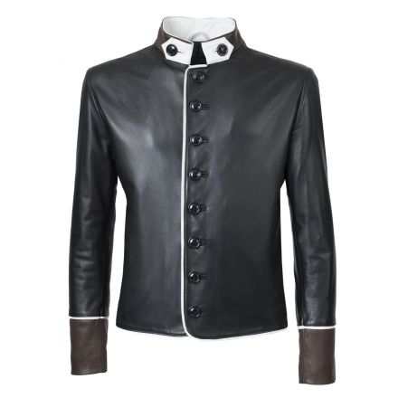 Giacca classica in pelle nera uomo Vittorio invernale elegante moderna- foto 1 | Pellein