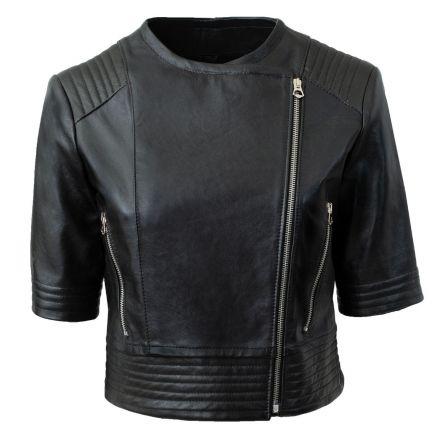 Riccione black leather summer Short Jacket cropped with short sleeves