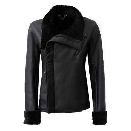 Crispel black leather winter Shearling Jacket with turtle neck