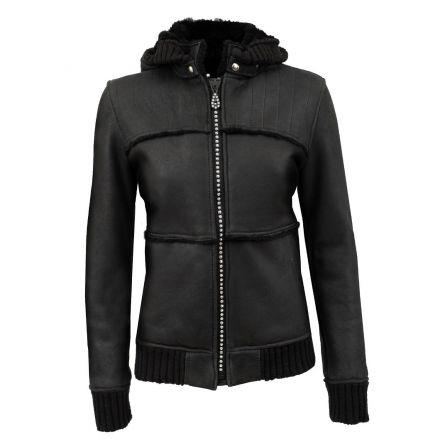 Elga Swarovski black leather winter Shearling Jacket with hood and swarovski