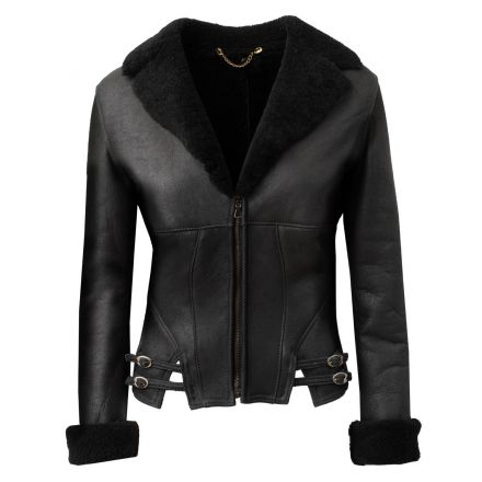 Krissmont black leather winter Shearling Jacket elegant