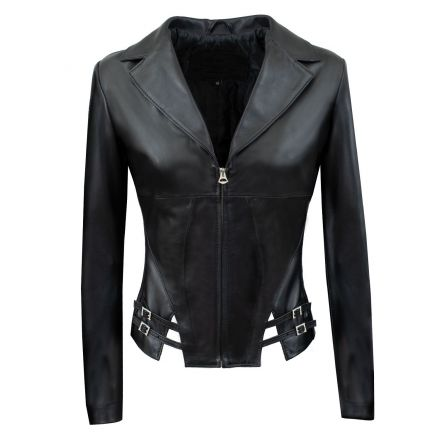 Kriss black leather winter Jacket corset style with V neck