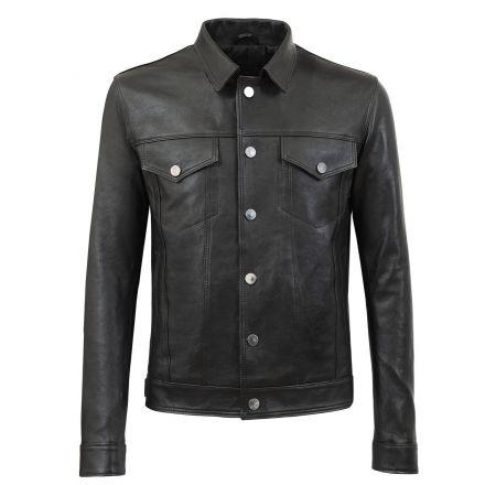 Michelle black leather winter Jacket denim shirt style