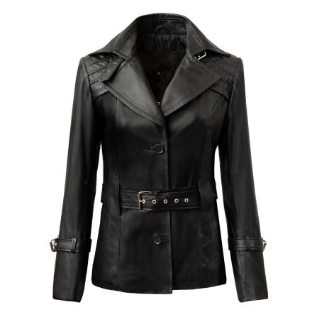 Pamela black leather winter Jacket short trench style with buttons