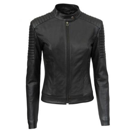 Vanessa black leather winter Jacket quilted biker