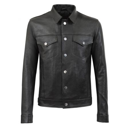 Mich black leather winter Jacket vintage shirt style