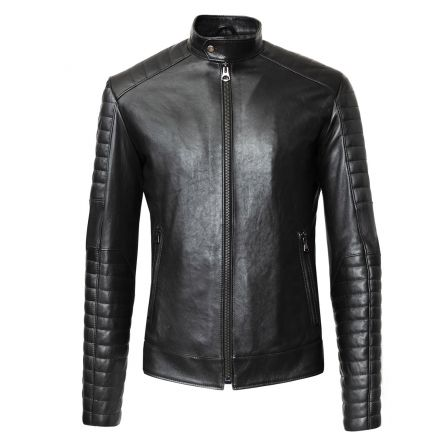 Monza black leather winter Jacket biker