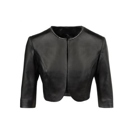 Messina black leather summer Bolero Short Jacket crew-neck with highlight