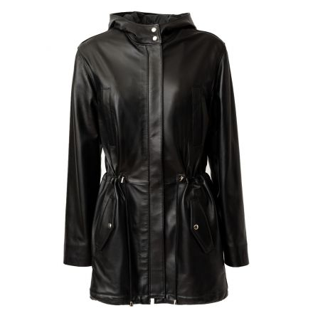 Bologna Abrigo Parka de cuero negro invierno largo con capucha