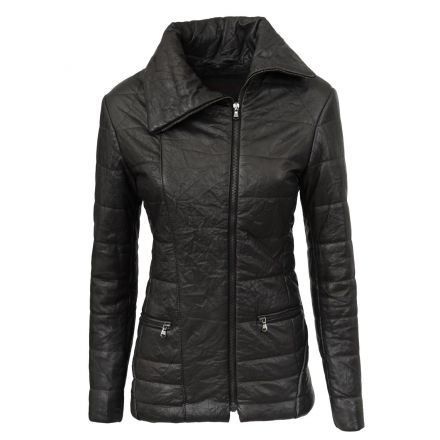 Imperia black leather winter Puffer Jacket quilted with padding