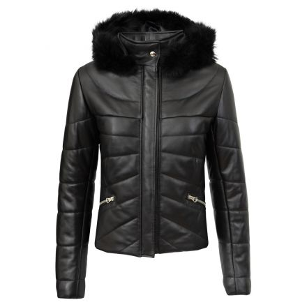 Napa black leather winter Puffer Jacket with fur hood