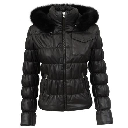 Trieste black leather winter Puffer Jacket with padding  and fur