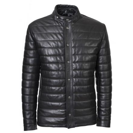 Aosta black leather winter Puffer Jacket elegant