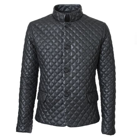 Carbonia black leather winter Puffer Jacket elegant with diamond quilts