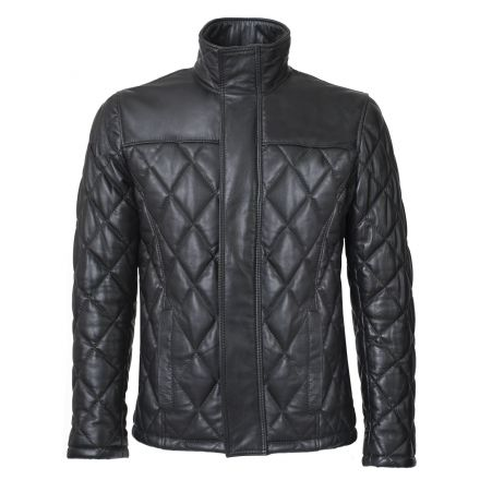 Carl black leather winter Puffer Jacket with turtle neck