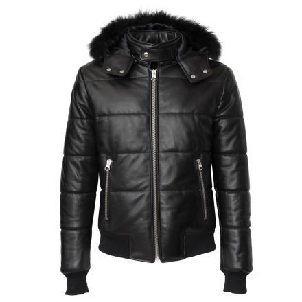 Omino black leather winter Puffer Jacket with hood and fur
