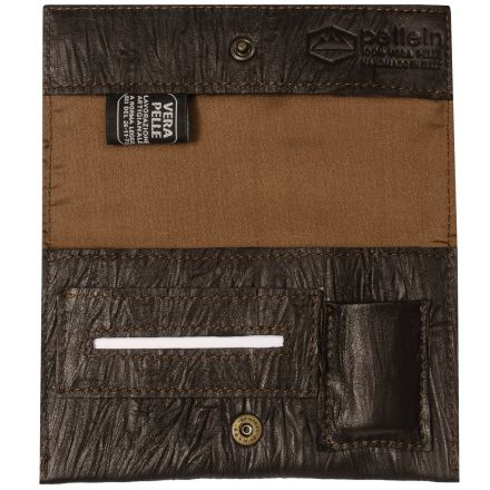 Mojo unisex brown leather tobacco pouch with lighter case paper holder and filter pocket