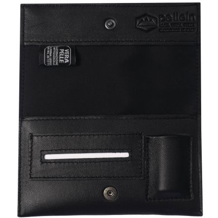 Nero Hero unisex black leather tobacco pouch with lighter case paper holder and filter pocket