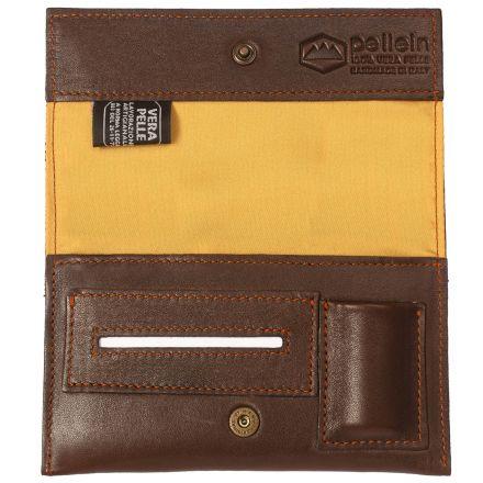 Nurem unisex brown leather tobacco pouch with lighter case paper holder and filter pocket