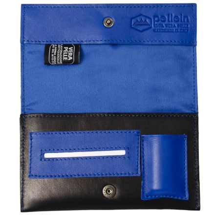 Touch unisex blue leather tobacco pouch with lighter case paper holder and filter pocket