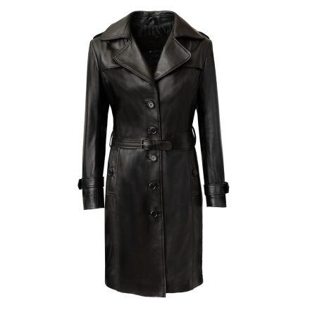 Melita Gabardina Larga de cuero negro invierno botonadura simple con cinturón