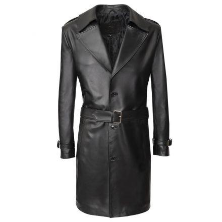Trench in pelle nera uomo Livorno invernale lungo con cintura elegante- foto 1 | Pellein