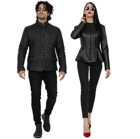 man and woman wearing leather jackets